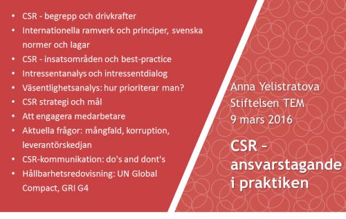 CSR – ansvarstagande i praktiken